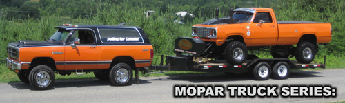 1990 Dodge RamCharger and Dodge Ram Pulling Truck, featured in Mopar Trucks 3.0