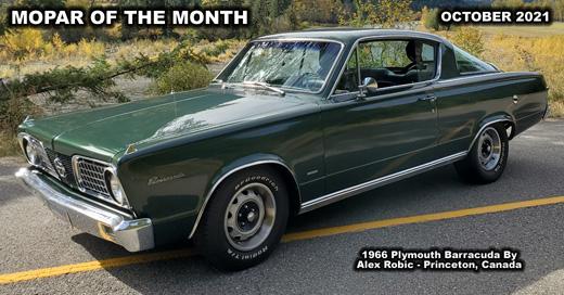 October 2021 Mopar Car Of The Month – 1966 Plymouth Barracuda